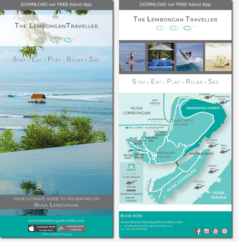 The Lembongan Traveller DL Flyer White Canvas Design Website development, Graphic Design, Branding, Mobile App Development, Perth Agency