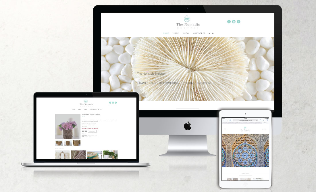 The Nomadic Shopper E-Commerce Website, White Canvas Design, Website Development, E-Commerce Websites, Mobile App Development, Graphic Design, Strategic Marketing, Perth Western Australia, Marketing Support, Websites, Website Design, Commercial Photography, Photography