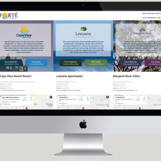 Forte Hospitality Website Development, White Canvas Design, Website Development, E-Commerce Websites, Mobile App Development, Graphic Design, Strategic Marketing, Perth Western Australia, Marketing Support, Websites, Website Design