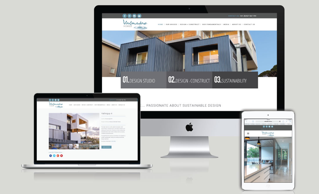 Valmadre Homes Website Development, White Canvas Design, Website Development, E-Commerce Websites, Mobile App Development, Graphic Design, Strategic Marketing, Perth Western Australia, Marketing Support, Websites, Website Design